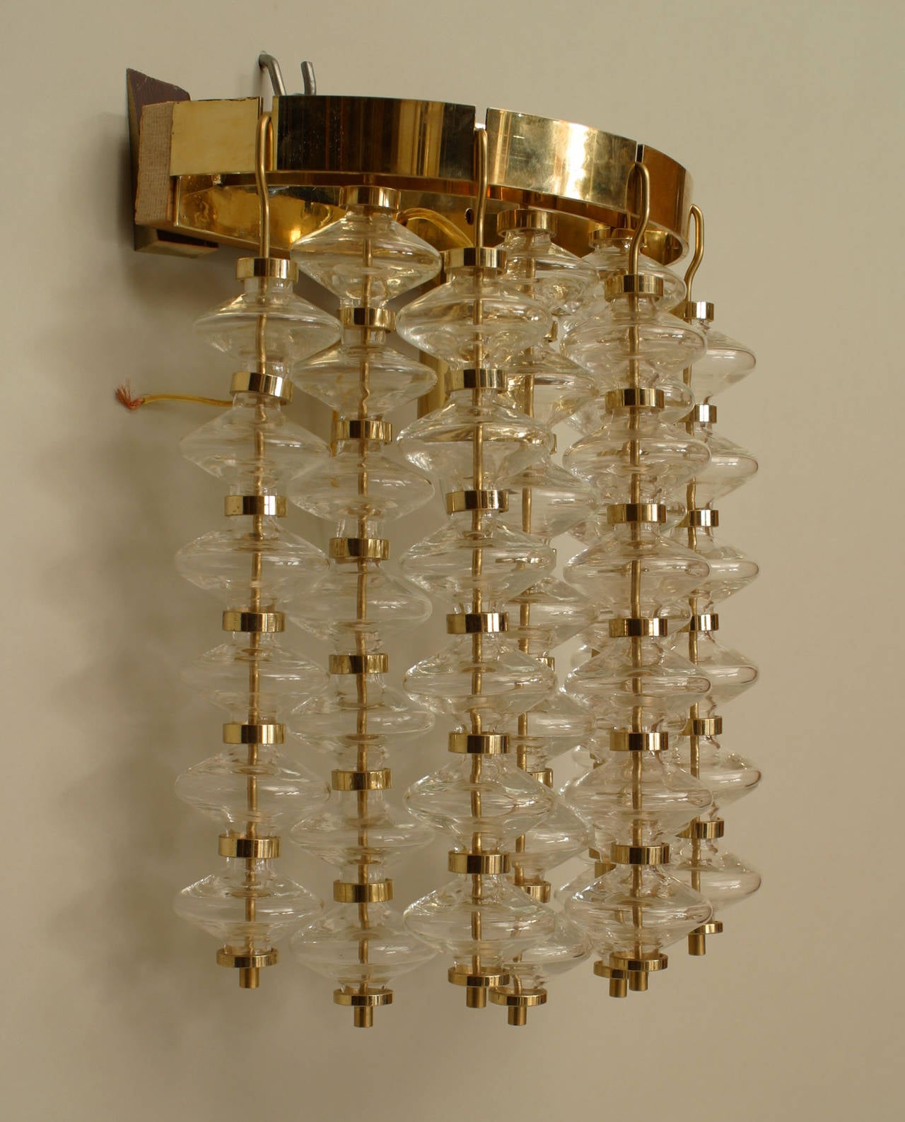 Pair of Italian Bubble Glass Wall Sconces For Sale at 1stdibs