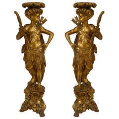 Large Pair of 18th/ 19th c. Venetian Gilt Carved Blackamoor Pedestals
