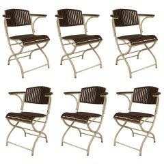 Set of 6 French Art Deco Outdoor Painted Iron Armchairs