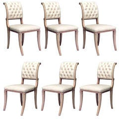 Set of 6 Upholstered Sycamore Side Chairs, Attributed to Arbus