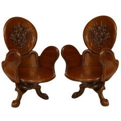 Pair of Art Nouveau Carved Teak Armchairs in the manner of Gaudi