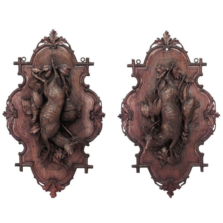 Pair of 19th c. Black Forest Plaques Relating to the Hunt