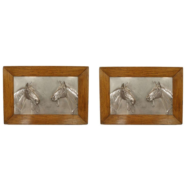 Pair of English Country Silver Plate Equestrian Wall Plaques