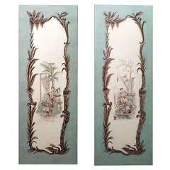 Pair of French Louis XV Style Chinoiserie Paintings in the Manner of Pillement