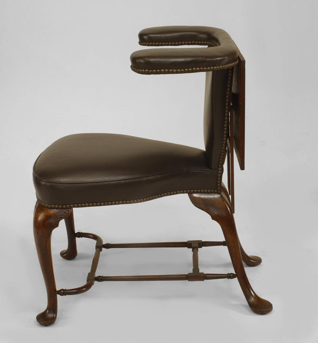 Beau 19th Century English Queen Anne Style Leather, Upholstered Reading Chair In  Good Condition For Sale