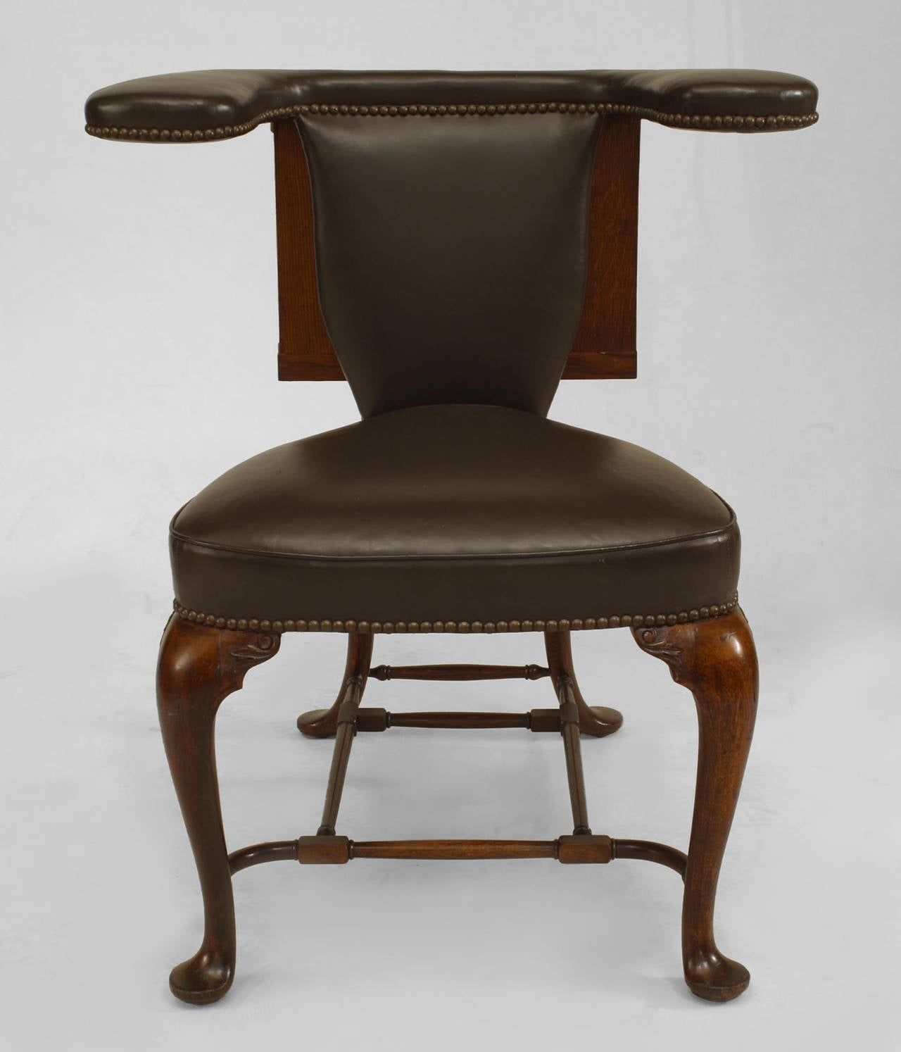 19th century english queen anne style leather upholstered