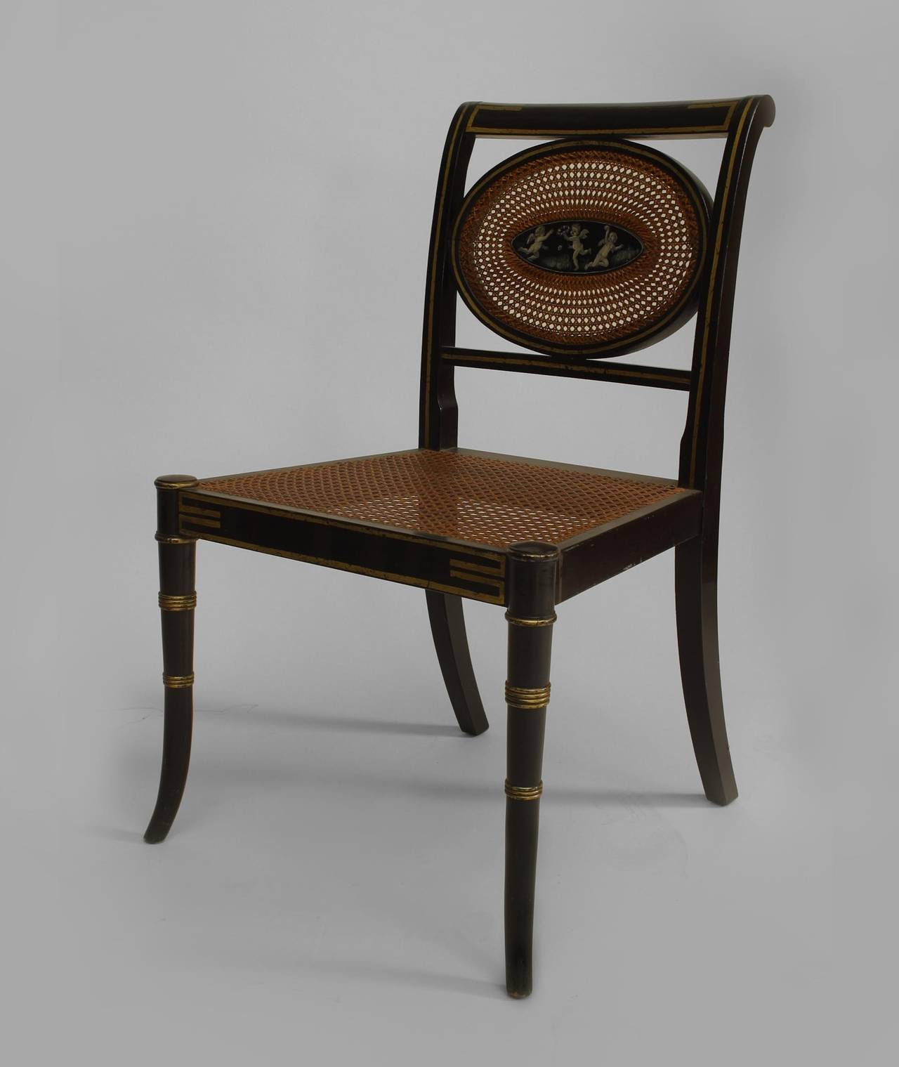 Set Of 6 English Regency Style (19th Cent) Black Lacquered U0026 Gold Decorated  Chairs