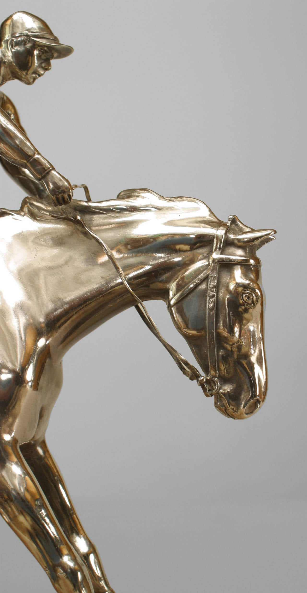 Edwardian 19th c. English Silver-Plated Bronze Horse and Jockey Sculpture For Sale