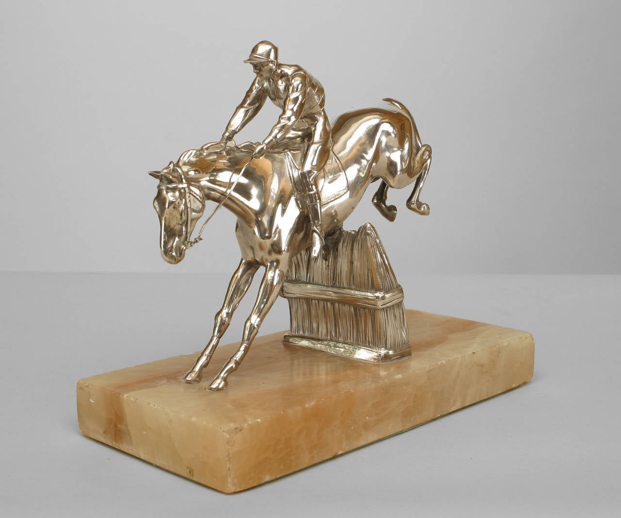 Early 20th Century 19th c. English Silver-Plated Bronze Horse and Jockey Sculpture For Sale
