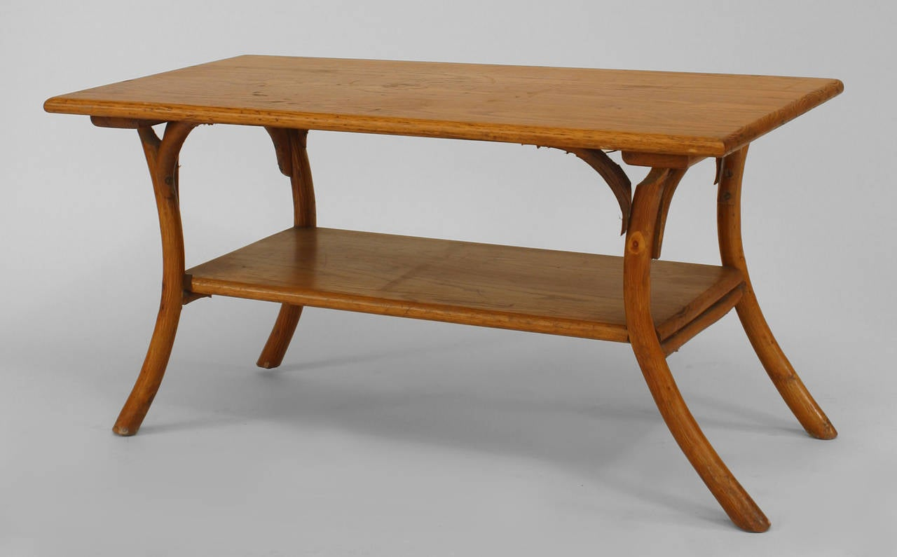 1940 39 S Or 1950 39 S American Rustic Oak Coffee Table At 1stdibs