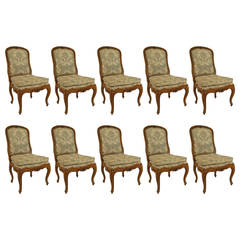 Set of 10 French Louis XV Style Side Chairs with Fortuny Upholstery