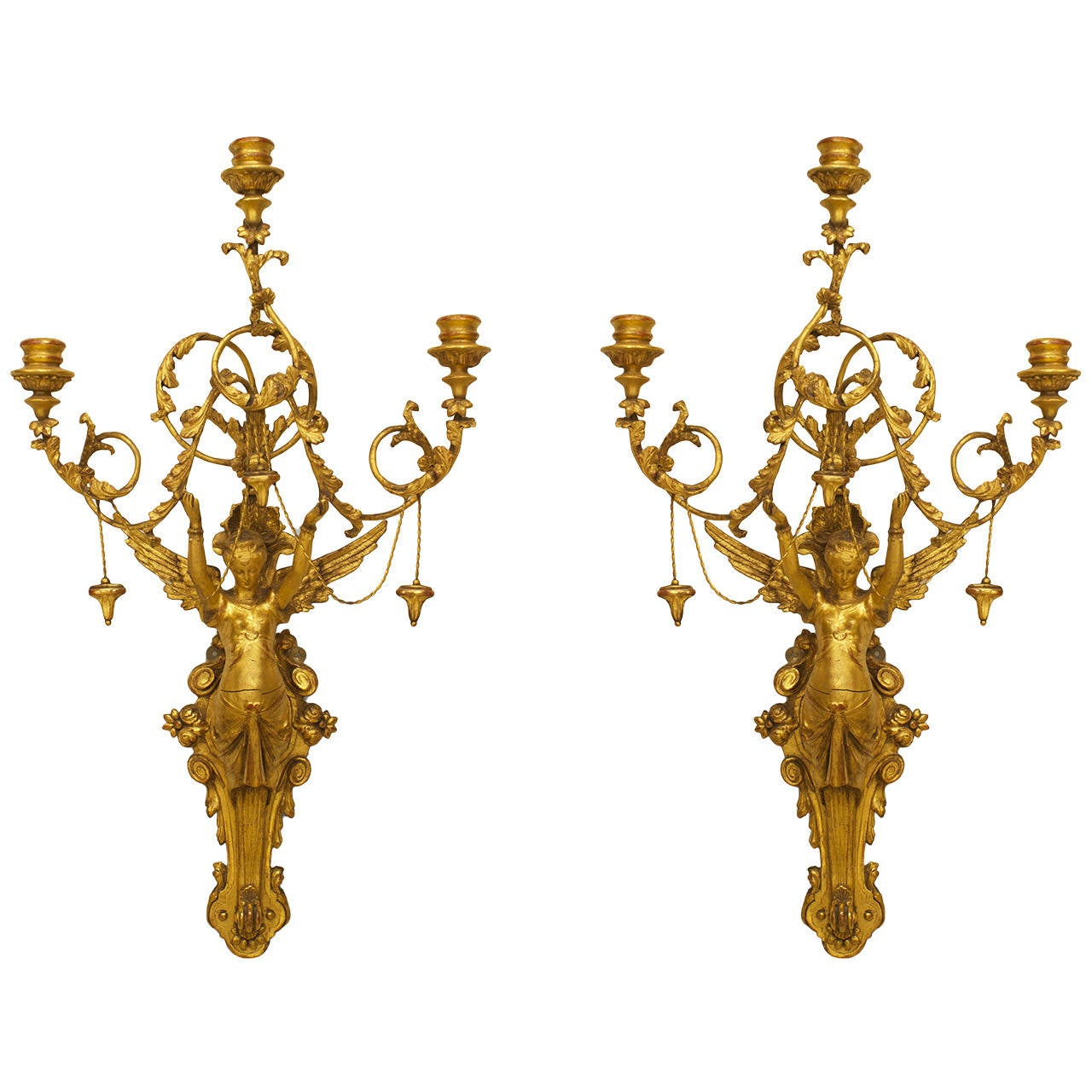 Pair of Early 19th c. Italian Neoclassical Gilt Figural Sconces