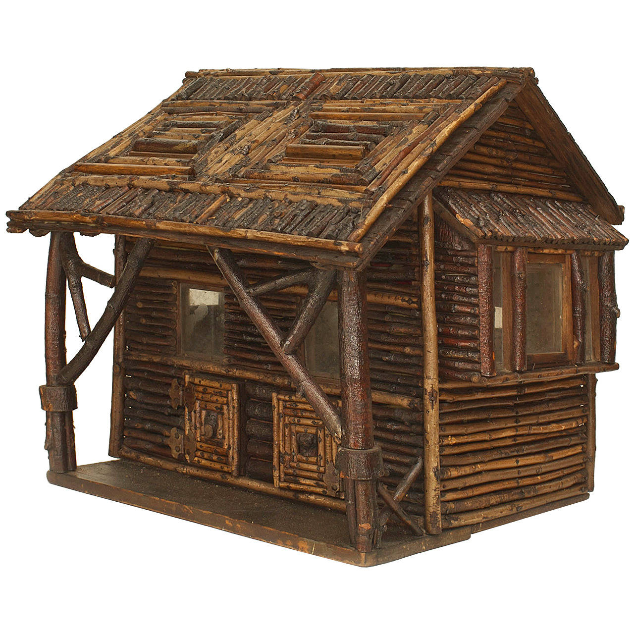 Model Homes Furniture Sale: Early 20th C. American Rustic Miniature Log Cabin For Sale