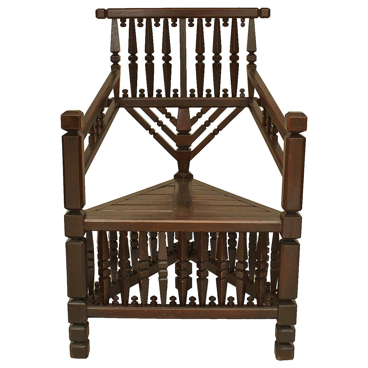 Arts & Crafts Dark Oak Arm Chair