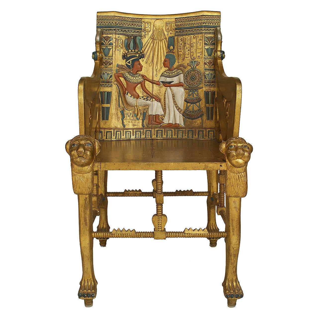 Late th c egyptian revival polychrome carved throne