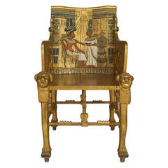Late 19th c. Egyptian Revival Polychrome Carved Throne Chair
