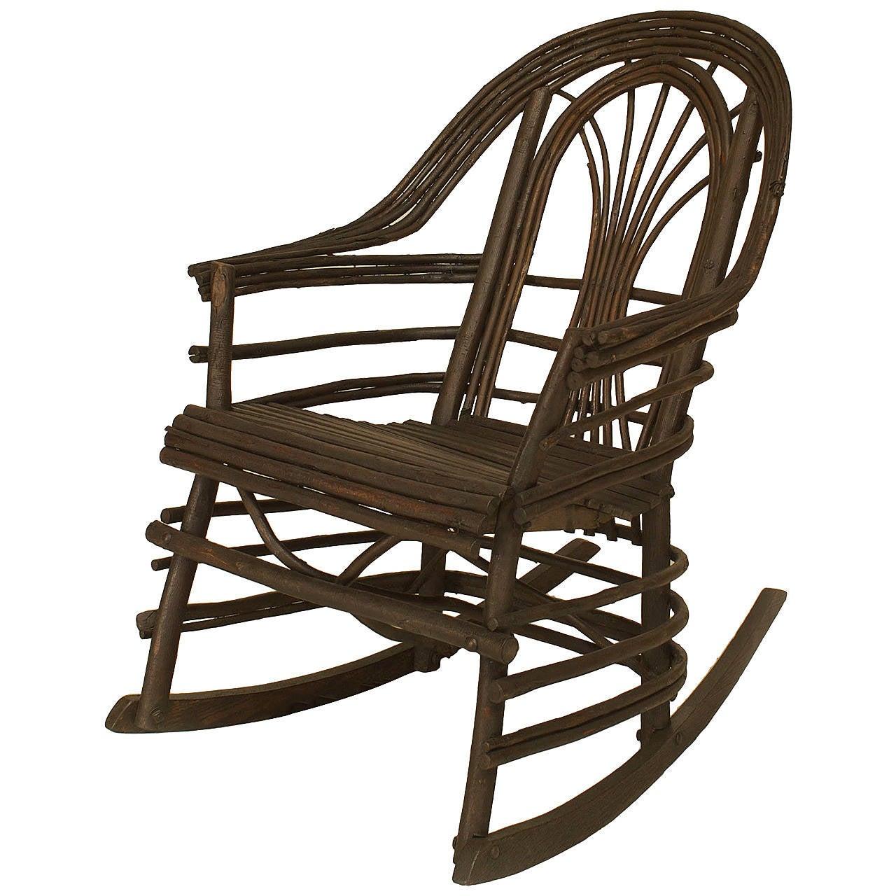20th c american adirondack style willow twig rocking - Adirondack style bedroom furniture ...