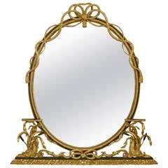 19th c. English Georgian Oval Giltwood Rope Mirror