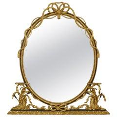 19th c. English Georgian Oval Giltwood Rope Mirror