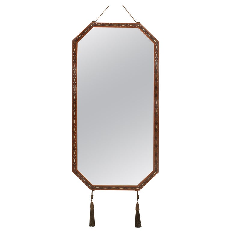 French Art Deco Inlaid Mahogany Mirror by Maurice Dufrene For Sale