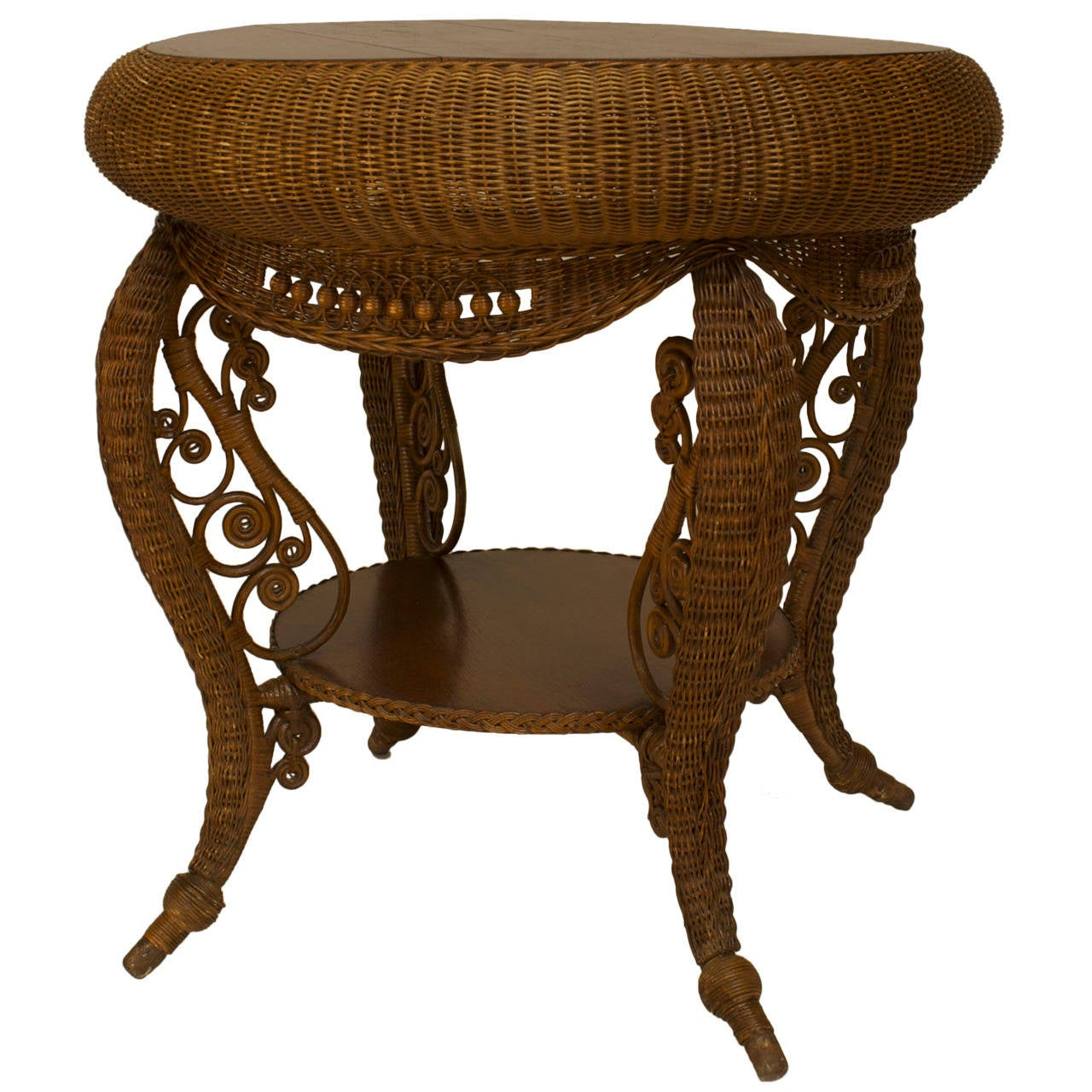 Beau Small 19th C. American Heywood Wakefield Oak And Wicker Table For Sale