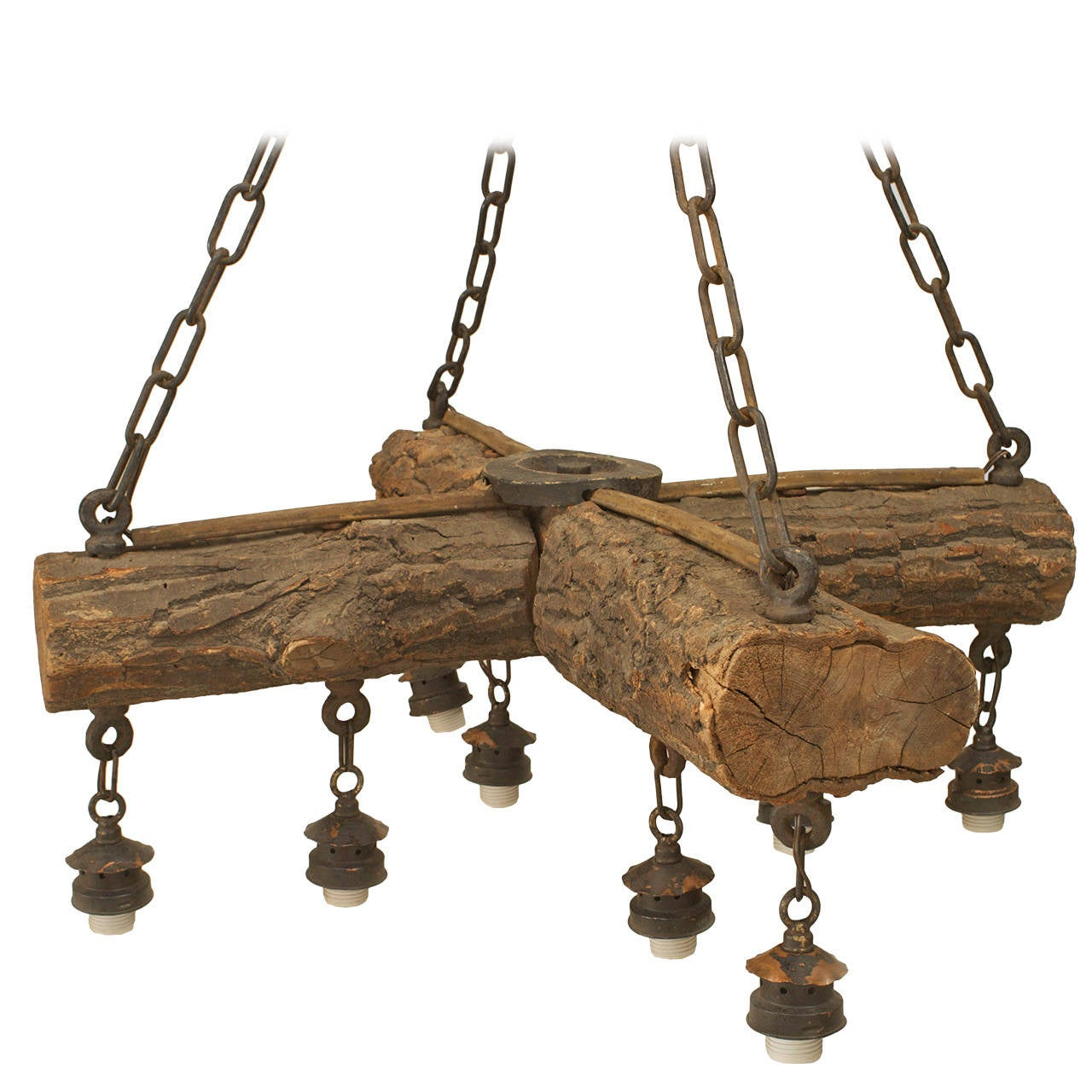 Early 20th c american rustic log chandelier for sale at for Log cabin chandelier