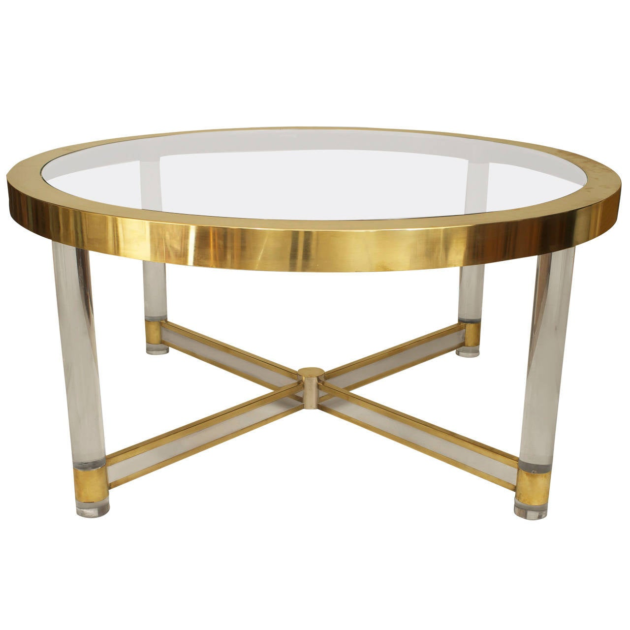 French Silver And Brass-Trimmed, Glass And Lucite Dining