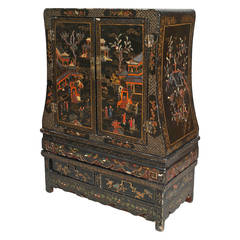 19th c. Chinese Black Lacquered Chinoiserie Cabinet
