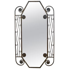 1930's French Art Deco iron Wall Mirror