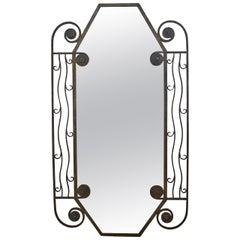 1930's French Art Deco iron Wall Mirror