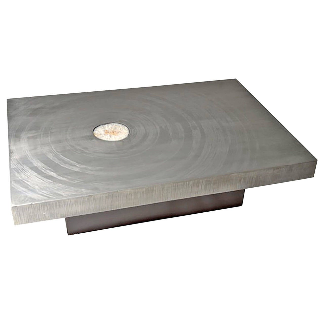 1970s Belgian Etched Aluminum and Agate Coffee Table by Marc D'Haenens