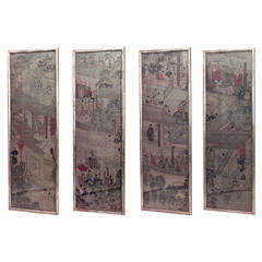 Set of 4 19th c. Chinese Watercolor Landscape Panels