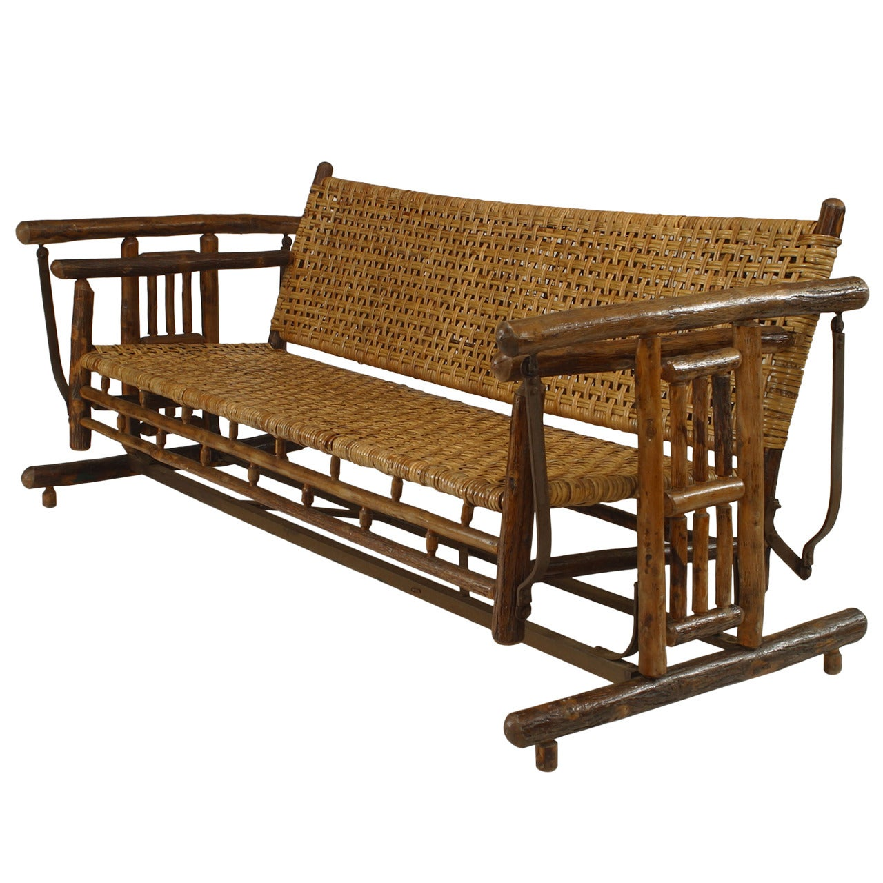 American Rustic Old Hickory Porch Glider