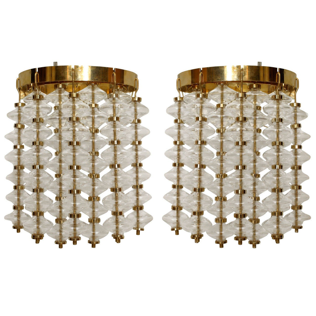 Pair of Italian Bubble Glass Wall Sconces