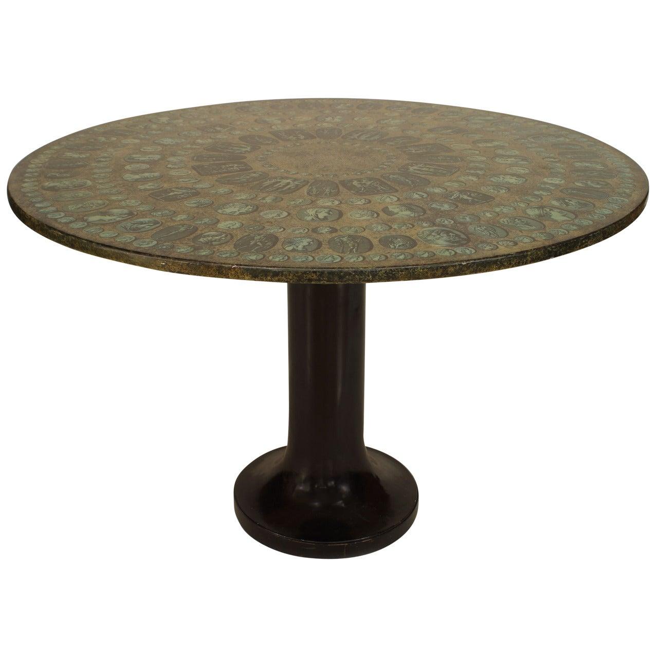 Fornasetti Ebonized Medallion Dining Table
