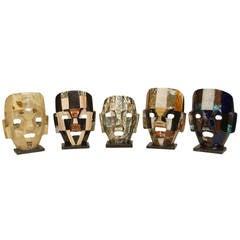 Five Mid-Century Aztec-Inspired Maks of Semi-Precious Stone