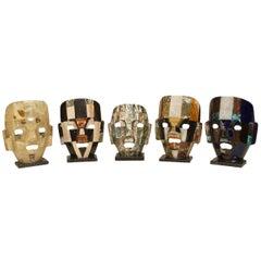 3 Mid-Century Tesselated Stone Aztec Masks