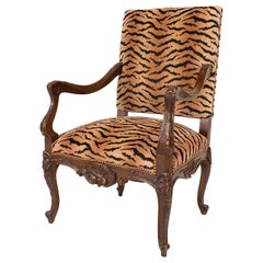 Turn of the Century French Regency Style Faux Fur-Upholstered Armchair
