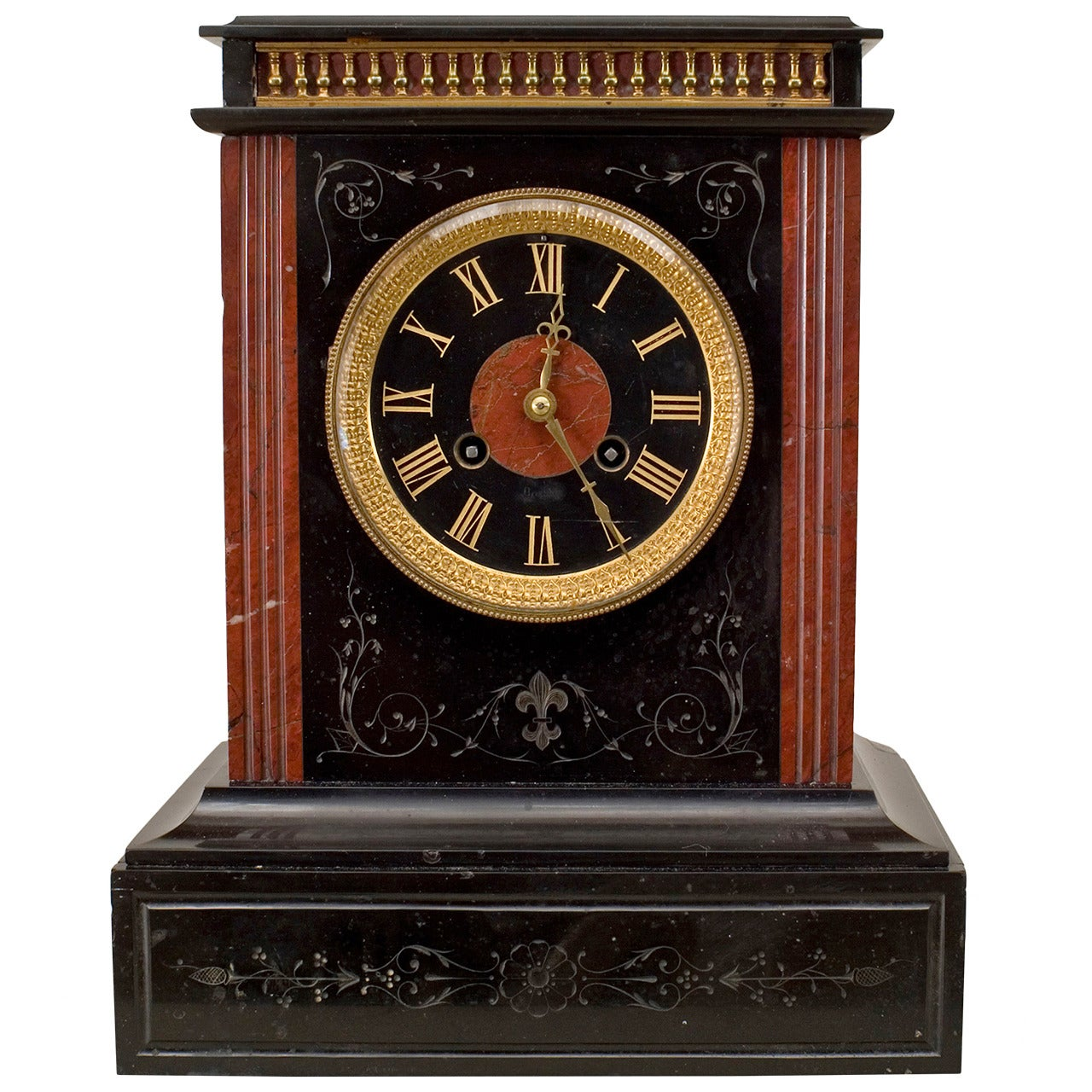 French Victorian Black Marble Mantel Clock