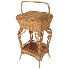 American Victorian Heywood Wakefield Natural Wicker Sewing Table