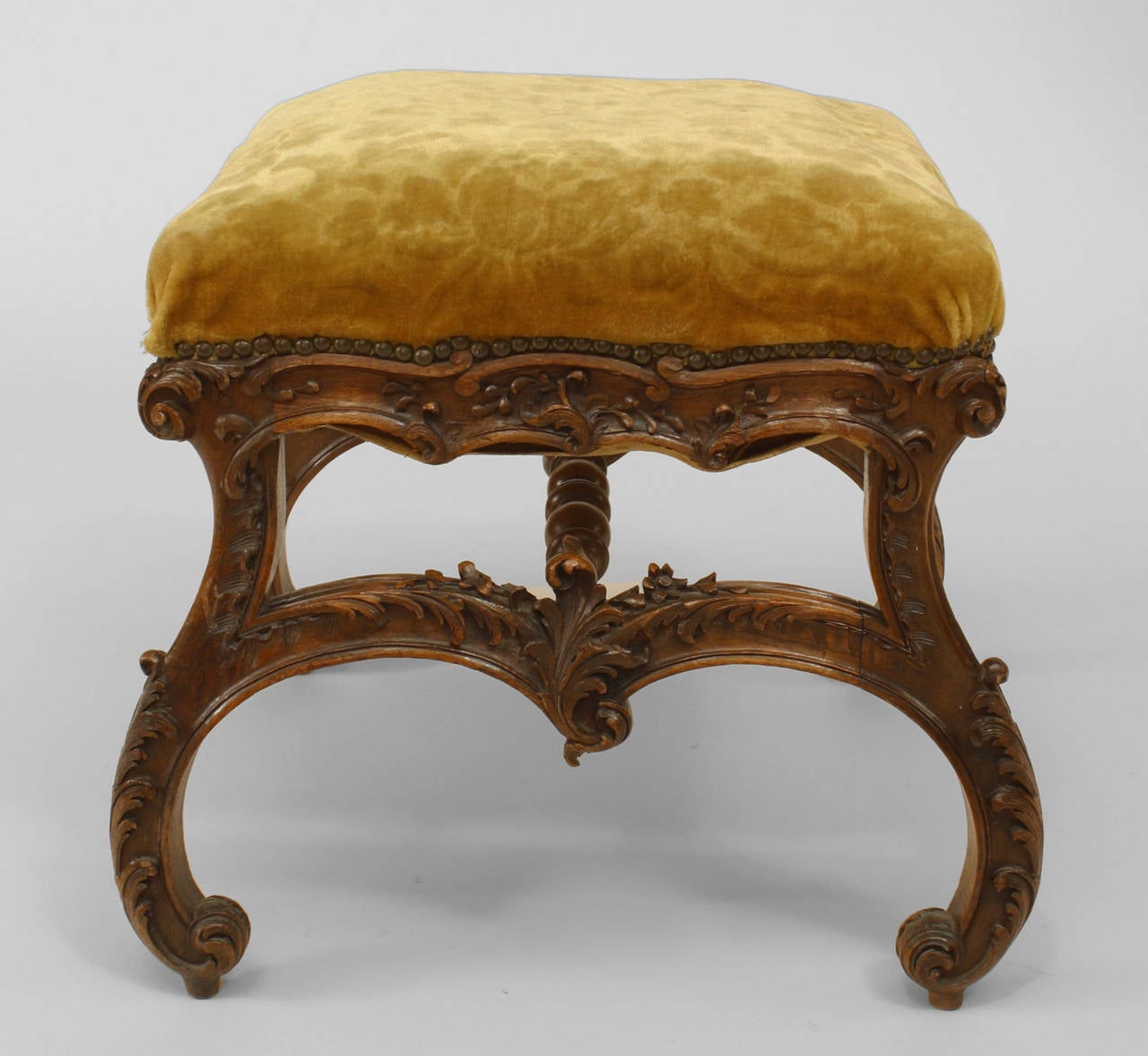 19th Century 19th c. Italian Baroque Style Square Upholstered Walnut Bench For Sale