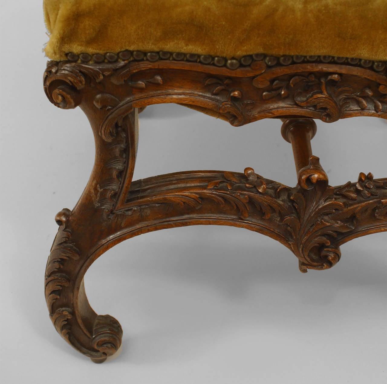 Velvet 19th c. Italian Baroque Style Square Upholstered Walnut Bench For Sale