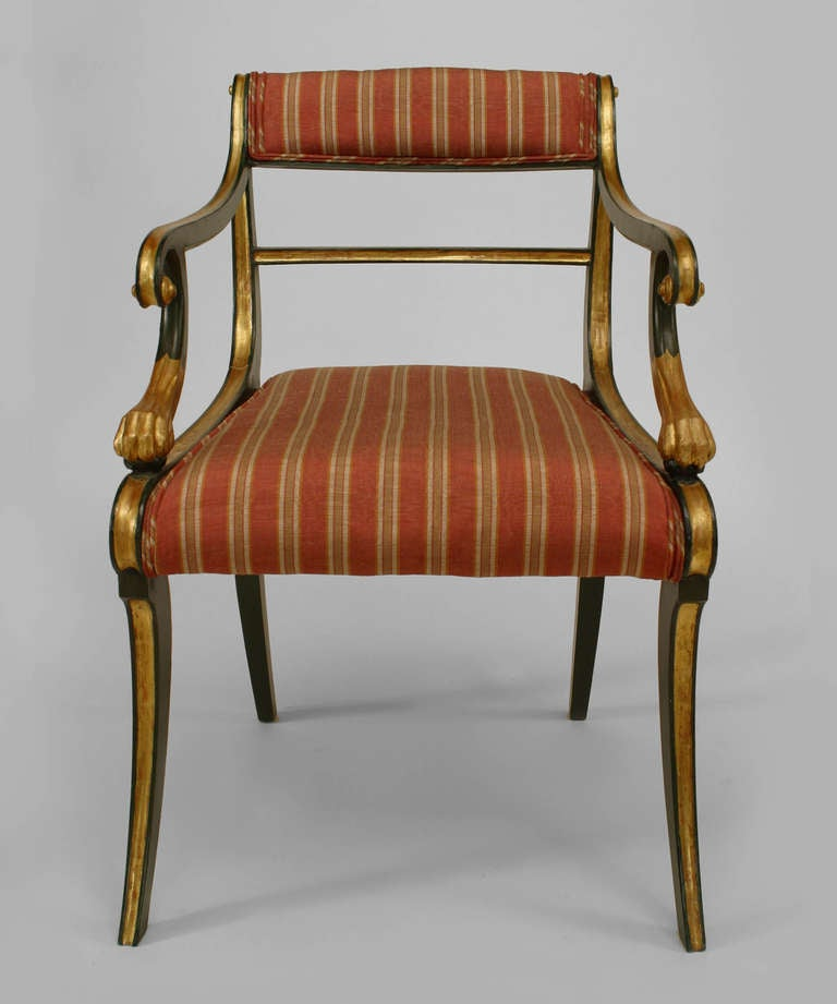 Set Of 12 English Regency Style Gilt And Green Painted Dining Room Chairs For