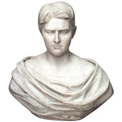 Classicizing White Marble Bust by J.H. Haseltine, Rome, 1870