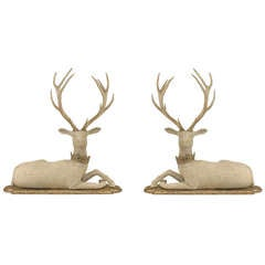 Pair of Life-Sized English Country Stag Sculptures