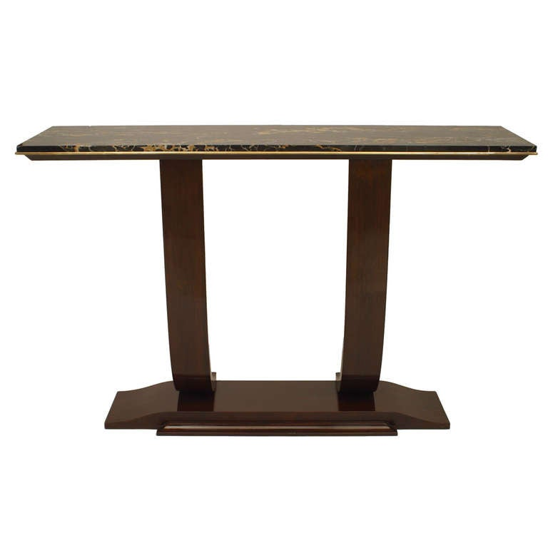 Rosewood and Marble Console, Attrib. to Leleu For Sale