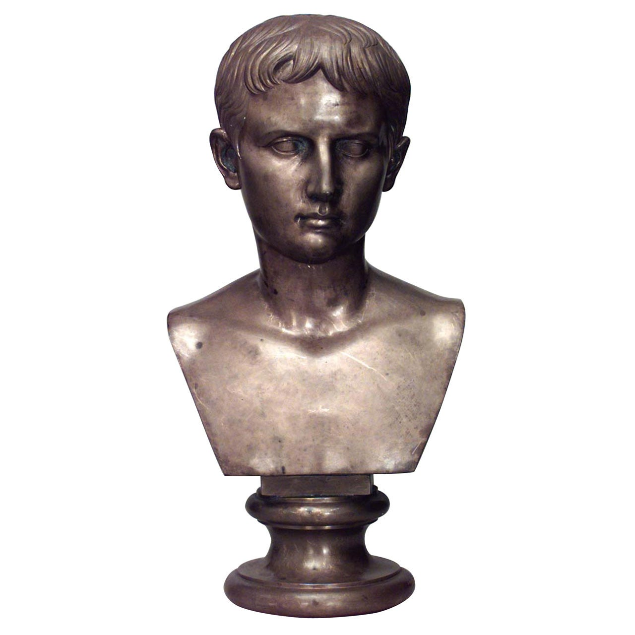 Life-Sized 19th c. Italian Bust of Augustus Signed by Boschetti