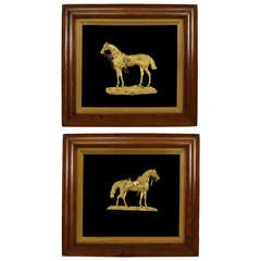 Pair of 19th c. English Gilt Bronze Equestrian Plaques
