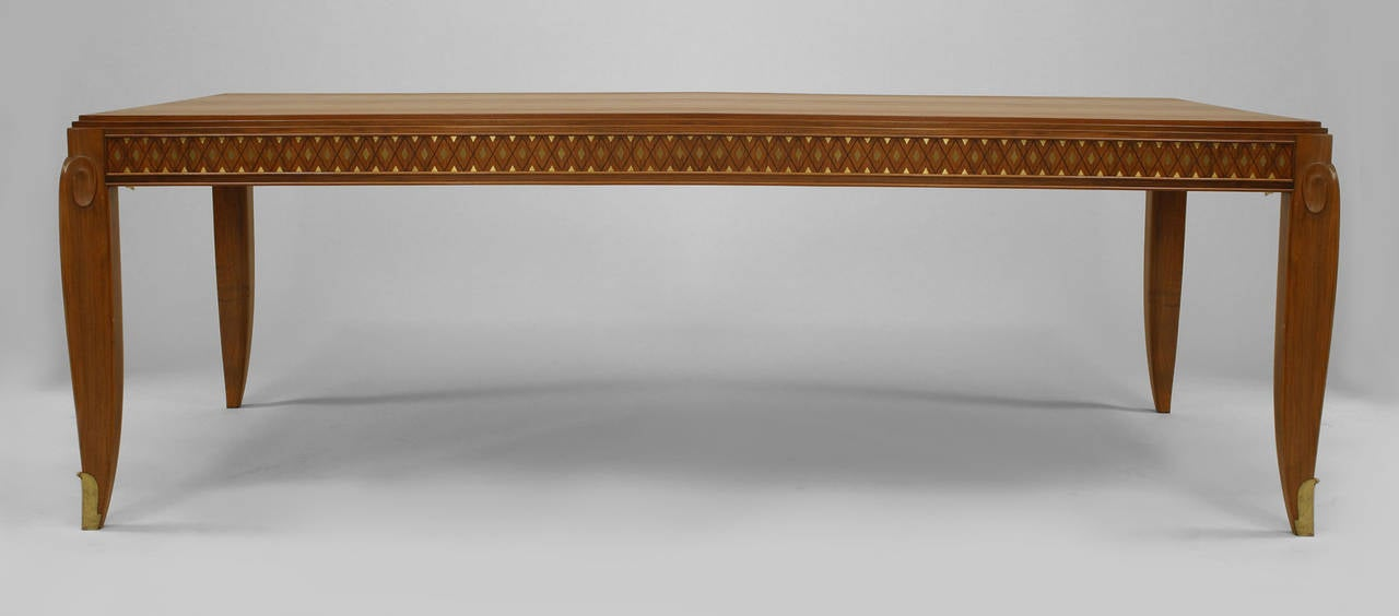 Fine French Inlaid Rosewood Dining Table Attributed To Jean Pascaud At 1stdibs