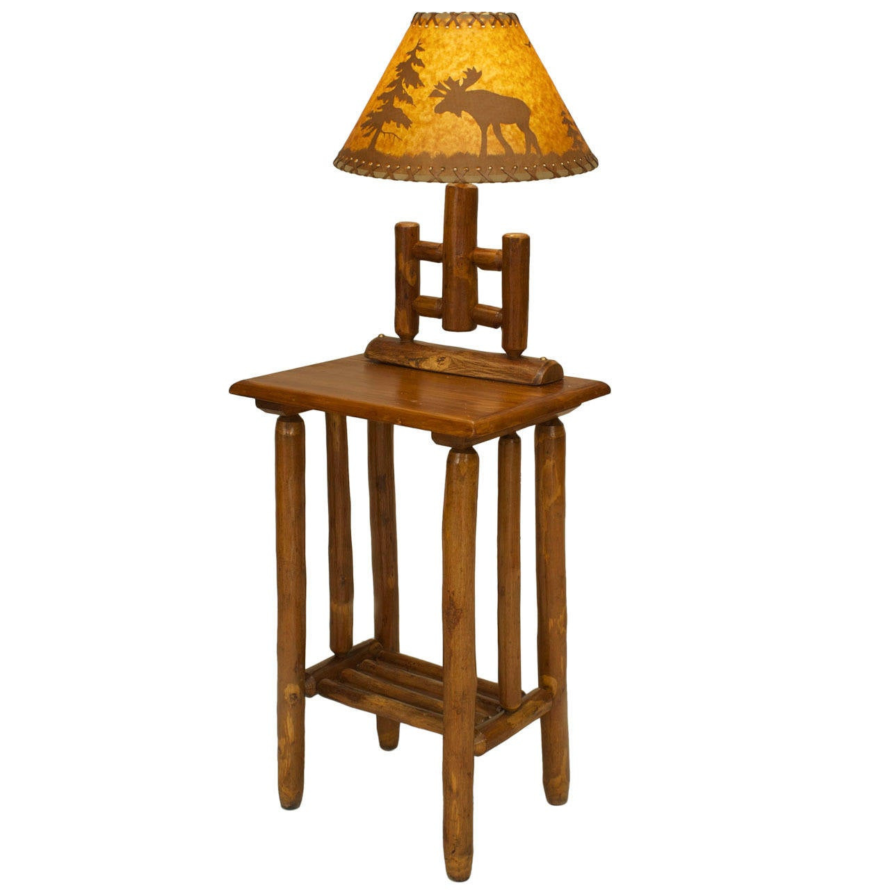 american rustic end table with mounted lamp 1